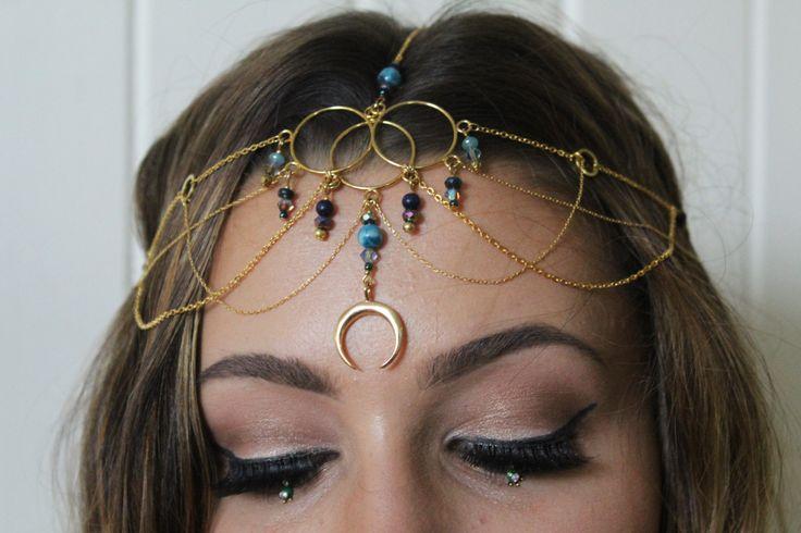 Luna gold head chain // boho headpiece, 16K Gold plated, moon crystal crown, hippie wedding, blue gemstone headpiece, bridal, wedding, prom by KomorebiHandmade on Etsy