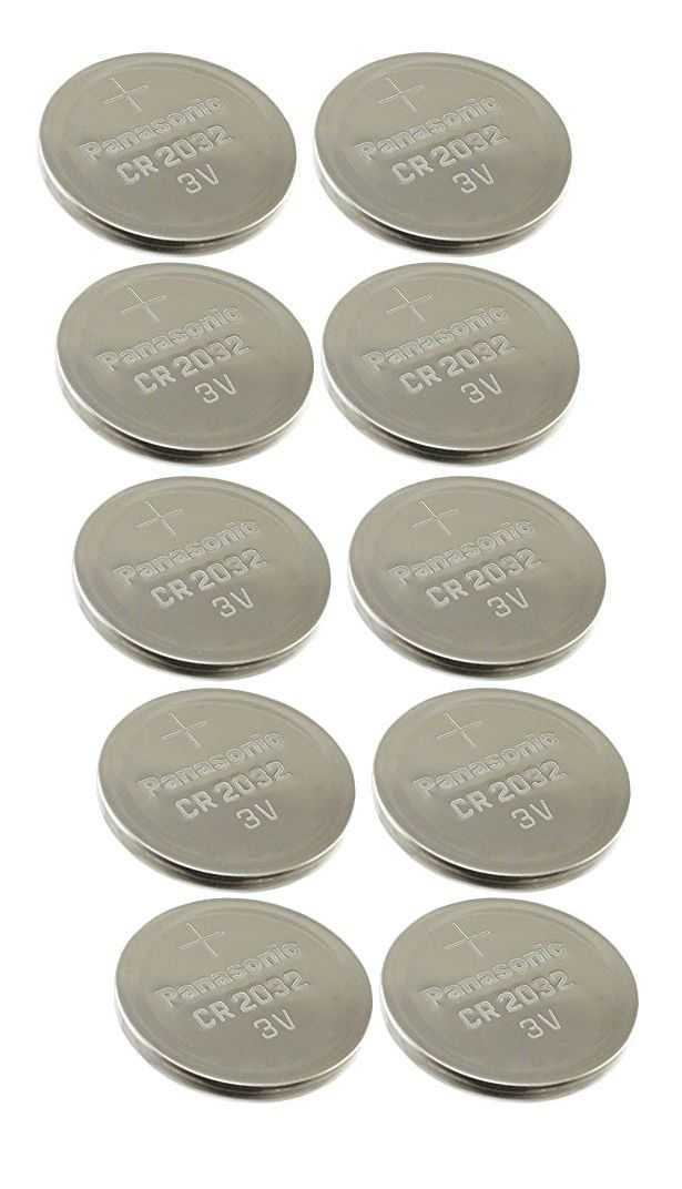 10 NEW Panasonic CR2032 Lithium Battery 3V Coin Cell Exp 2025