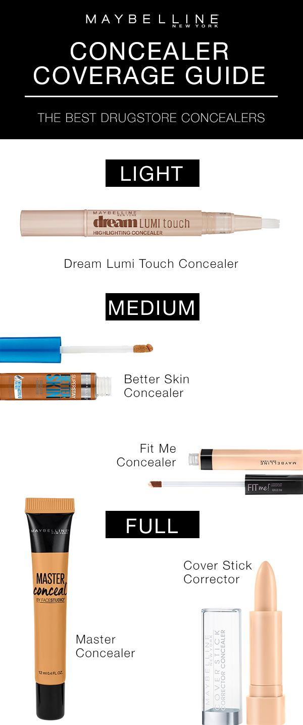 The best drugstore concealers are from Maybelline!  Get light coverage to full coverage with these affordable products.  Conceal imperfections, brighten undereyes, even out complexion with these amazing Maybelline concealers.