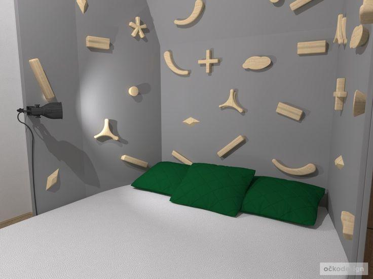 Dětský pokoj s boulder stěnou pro aktivního kluka