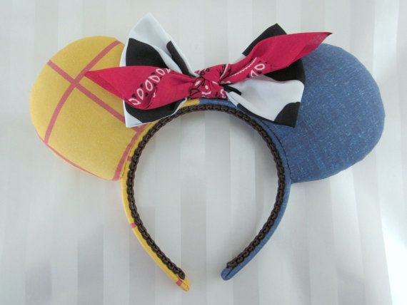 Sheriff Woody themed Mouse Ears - my unique, original design! My ears are stuffed, but lightweight & sewn onto the headband.    - comfort headband