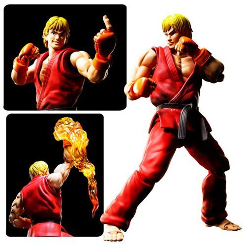 Street Fighter Ken Masters SH Figuarts Action Figure - Here Comes A New Challenger! Bandai's specialized fighting body figure brings classic combatants to life! Fans of Street Fighter will love this action figure! The figure is designed for incredible posability, letting you capture all of Ken's moves without sacrificing the figure's appearance. The figure includes 2x expression parts and 2x pairs of optional hands. Measures about 5 9/10-inches tall. #capcom #streetfighter #bandai