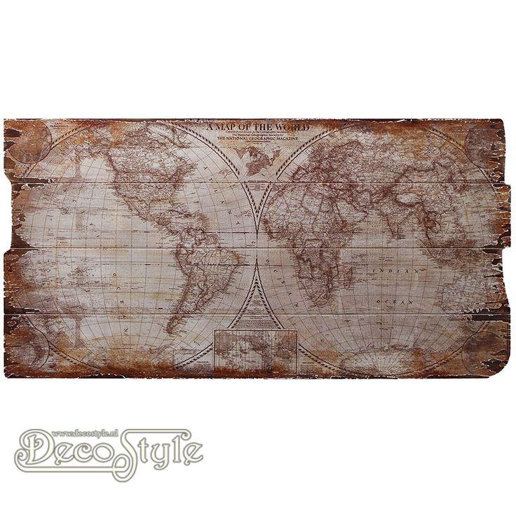 Wanddeco Wereldkaart 1  Nostalgische houten wandpaneel. Met een afbeelding van de wereldkaart. De wereldkaart is op houten panelen gedrukt in een vintage look. Mooi voor in huis, maar ook voor café of horeca. Materiaal: Hout Afmetingen: Hoogte: 40 cm Breedte: 80 cm Diepte: 2 cm