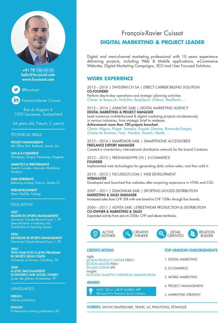 agile project manager resume template