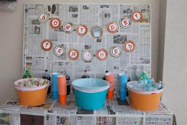 Garbage Truck Themed Birthday Party Drink Station