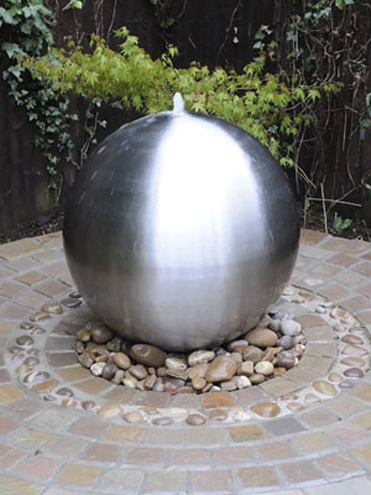 Brushed Stainless Steel Sphere With LED Light Is A Fully Self Contained  Water Feature.