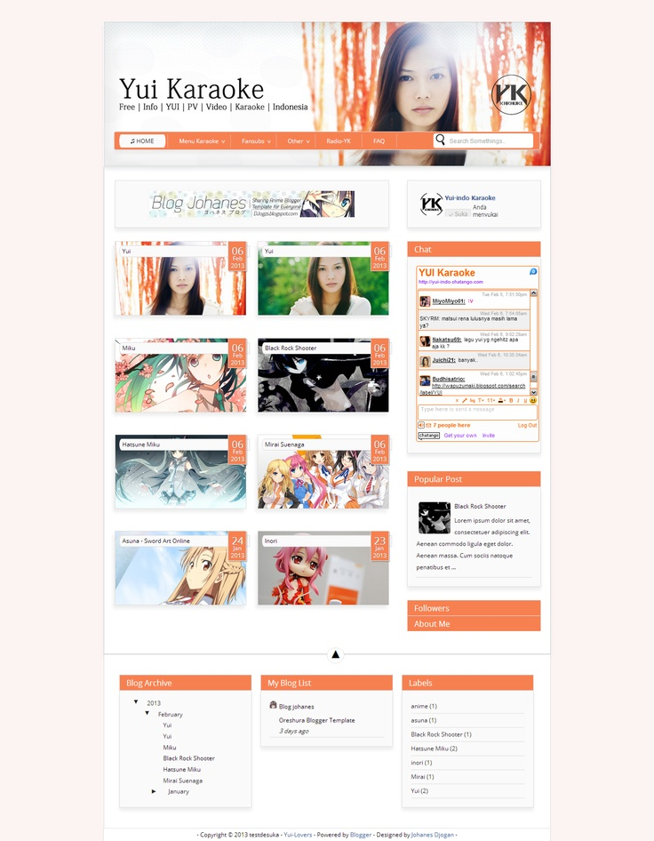 Yui Orange garden pop Blogger Template.  #not for share