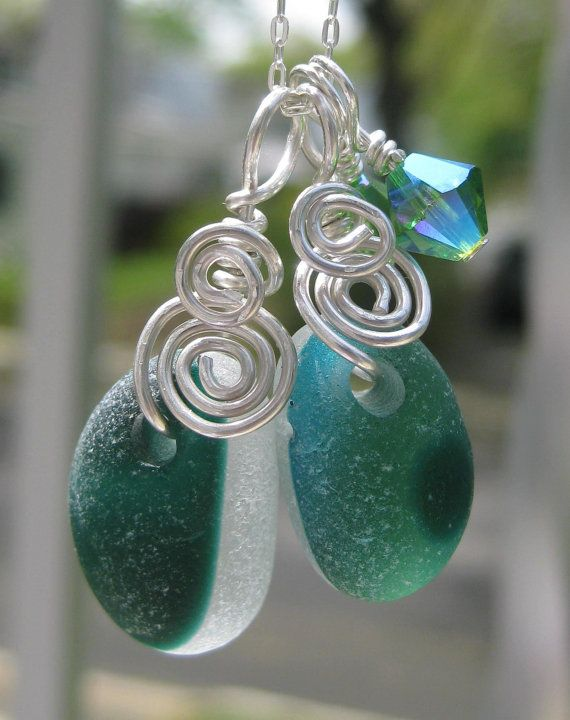 Sea Glass Necklace Two in One Amazing Forest and Deep Greens and White English Multis