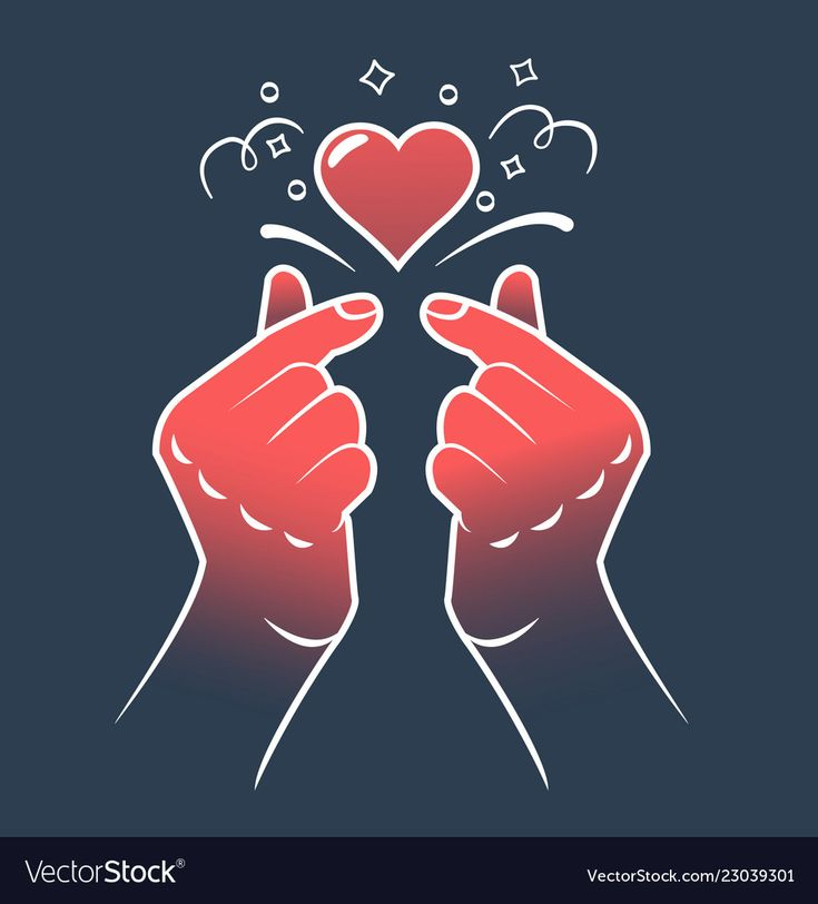Korean Heart Hand Gesture Symbol Symbol Of The Heart And Love Korea Finger Heart Icon In The Linear Style Cute Love Wallpapers Girly Drawings Love Symbols
