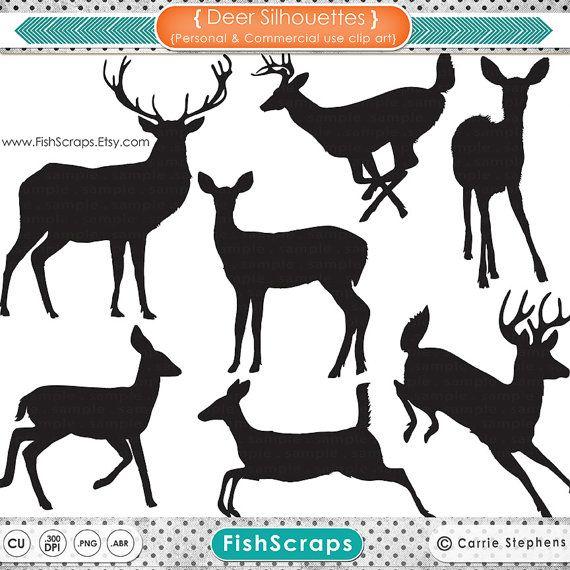 buck and doe clip art | Outlines - Reindeer - Doe - Buck - Digital Graphics - Deer Clip Art ...