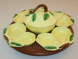 vintage belmar california pottery yellow lazy susan 4 pear dishes
