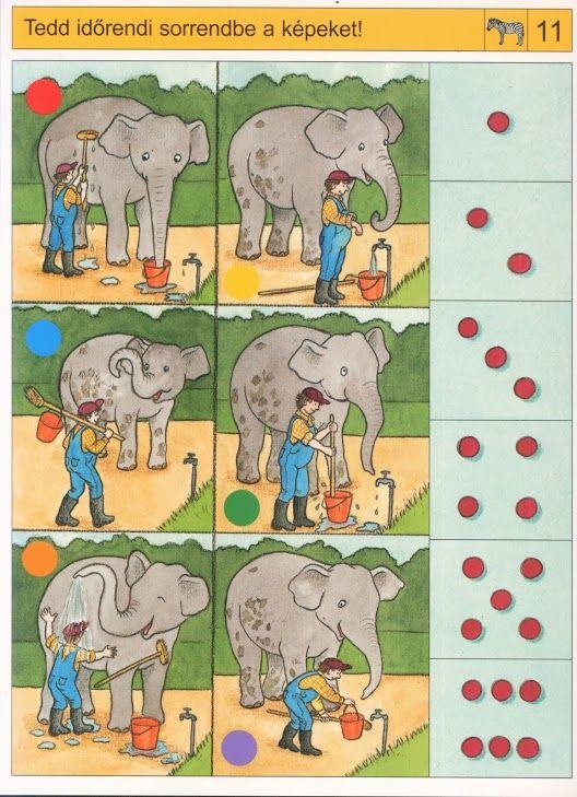 Counting with elephant math... Wat is de logische volgorde? Free printable