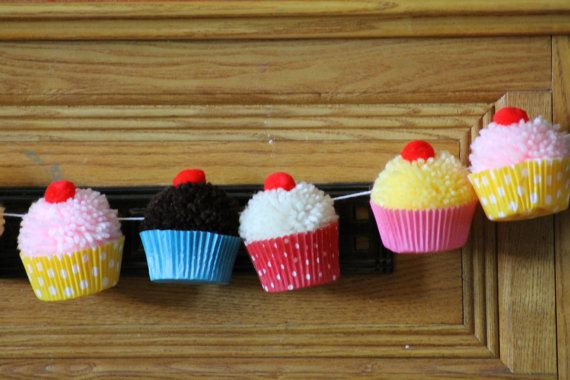 Bake Shop Yarn Cupcake Pom Pom Garland by CupcakeWishesStore, $37.50