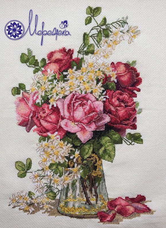 flowers, vase, rose, cross stitch kit, kross stitch, merejka