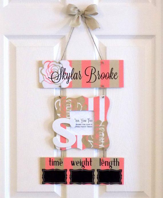 Welcome Baby Girl Coral & Gold Hospital Door Hanger by OliveYewToo