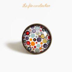 Bague bronze * pop orange * motif géométrique cercles multicolore , cabochon verre