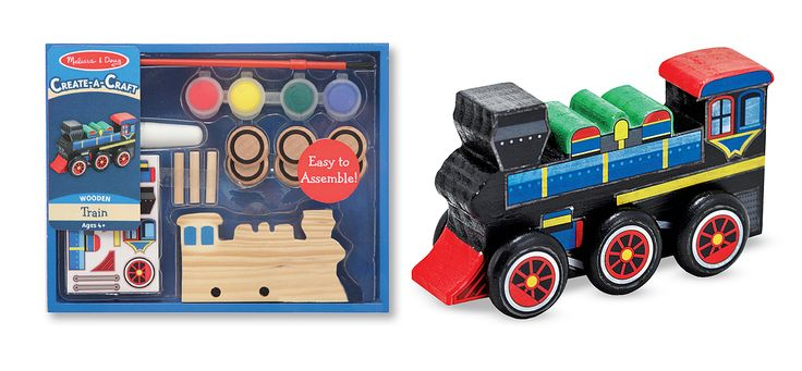 Decorate your own train    Little engineers will be proud to design their very own personal train engine, and now, this kit makes it possible. Wooden train engine, 6 wheels, simple assembly, paints, brush, glue and stickers are all included!