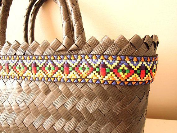 Cotton woven boho trim - Tribal ethnic woven ribbon 30 mm - Cotton jacquard ribbon - Southwest Tex-Mex Ribbon - Bohemian colorful trim