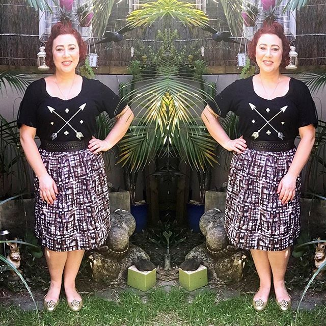 Feeling Lucky and a little retro cute for GET WAISTED Autumn Style File. Wearing Ruby & Lilli Lucky T shirt, Rodney Clark skirt and Seed belt to cinch my waist