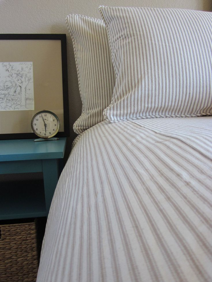 Ticking Stripe Duvet Cover Tan And Yellow Queen Navy