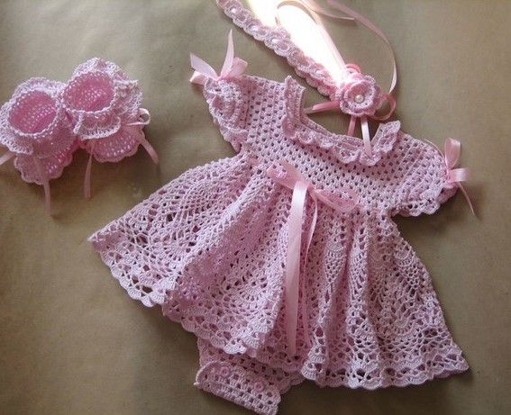 Click to view pattern for - Crochet baby pink dress