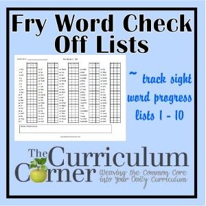 Fry word check off lists - awesome check off lists for tracking Fry Word Progress | The Curriculum Corner | FREE