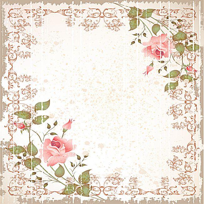Vintage Rose Flowers Border Background Background Patterns Flower Pattern Design Rose Frame