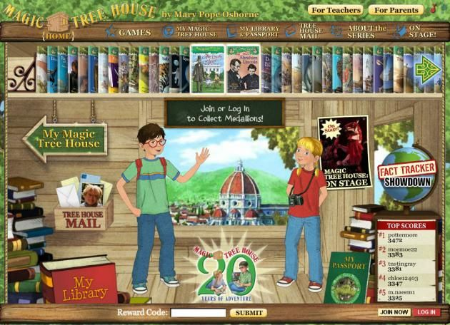If your students like The Magic Tree House Series (and let's be honest, who doesn't?), they'll loveThe Magic Tree House Website. Students climb up the tree and enter thetree houseto find some great puzzles, fun games and quizzes on any of the 45+ MTH books.