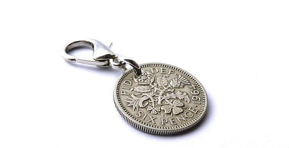 English charm, Zipper charm, 1964, UK charm, Gift under 15, Repurposed coin, British, Six pence, Vintage coin, Vintage charm, Purse charm