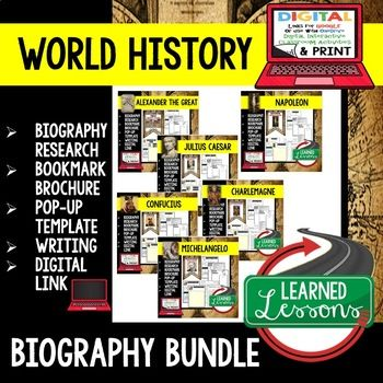 Hispanic History Biography Research, Bookmark Brochure, Pop-Up, Writing