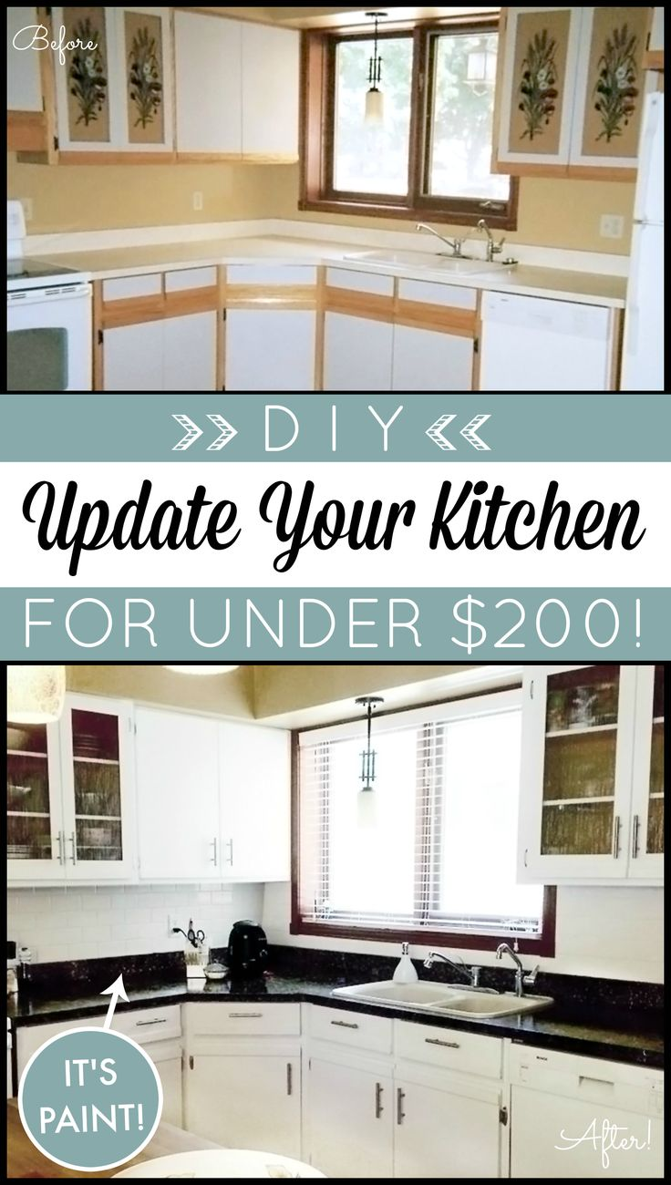 DIY Kitchen Makeover on a Budget. Giani Granite Countertop Paint kits transform existing counters to the look of natural stone & Nuvo Cabinet Paint is a one-day makeover process! www.gianigranite.com