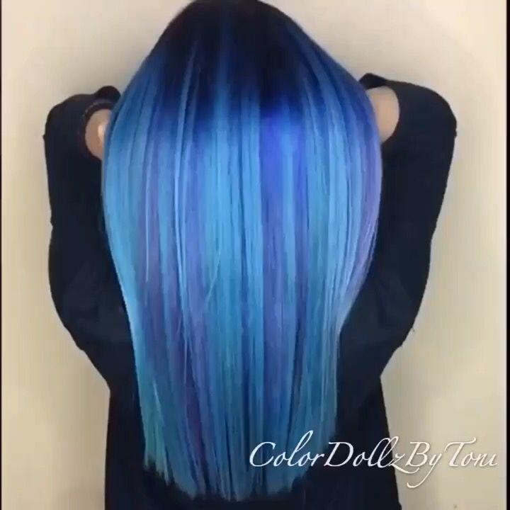 Blue color melt by @ColorDollz Vibrant blue hair pastel blue hair color hotonbeauty.com