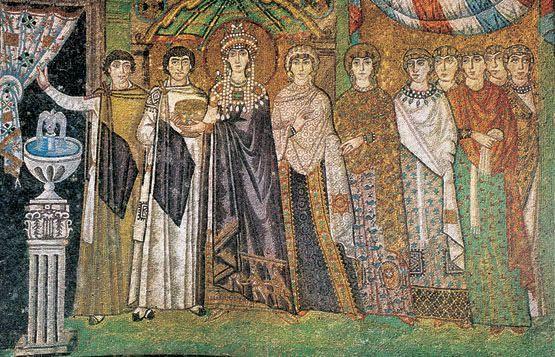 """""""La emperatriz Teodora y su cortejo"""". Mosaico bizantino de la Iglesia de San Vitale, Rávena, Italia, (a. 546 y 548)."""