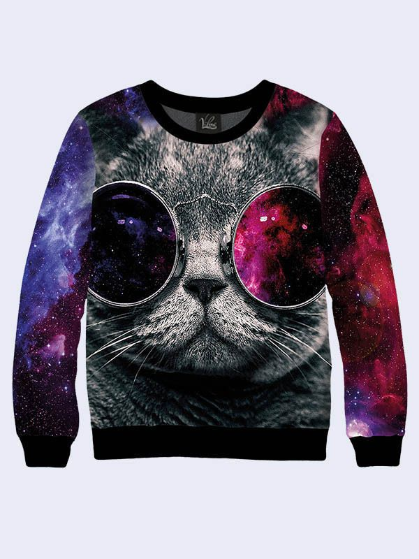 Cat Galaxy Glasses Hoodie Astro Space Animal Face Cosmic Hooded Sweatshirt New #TMVilno #BasicTee