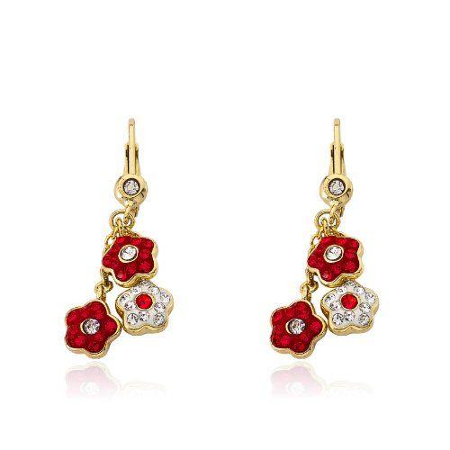 "Molly Glitz Girls' ""Flowery"" 14k Gold-Plated Crystal Flowers Cluster Dangle Leverback Drop Earrings"