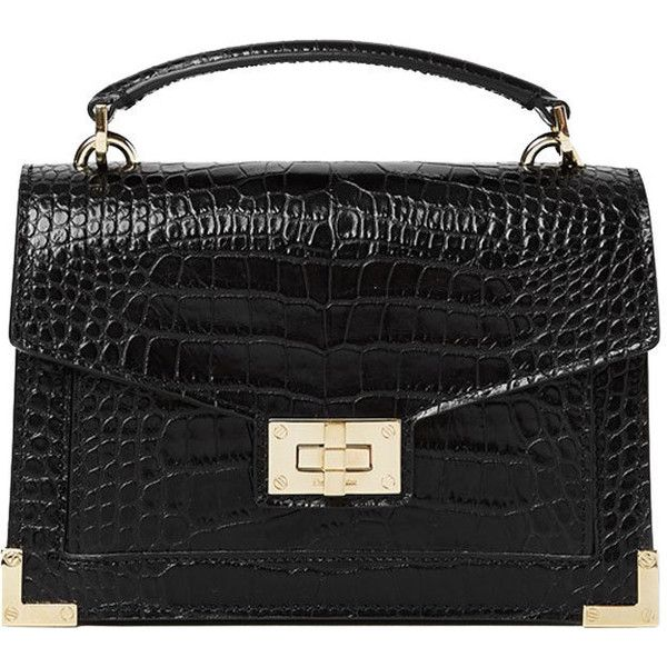The Kooples Emily By The Kooples Mini Bag (€355) ❤ liked on Polyvore featuring bags, handbags, shoulder bags, black, clasp handbag, clasp purse, evening purses, croc embossed handbags and mini handbags