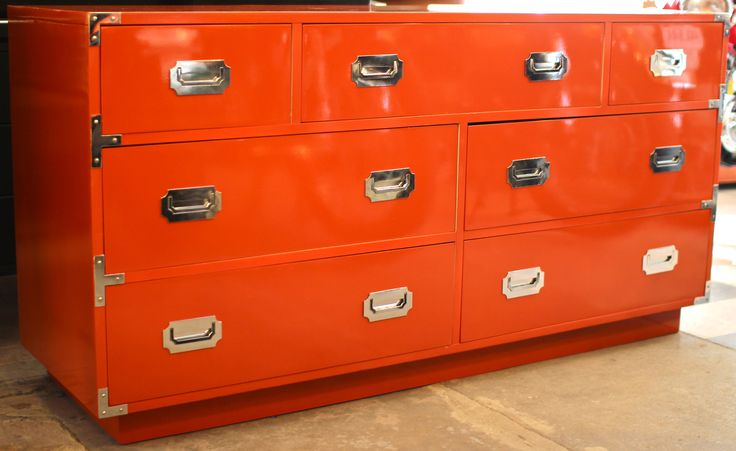 Orange Lacquer Campaign Style Chest, Mid Century Modern Furniture Houston, Modernism, Mod, MCM, Mid-Century Modern Houston, Hollywood Regency