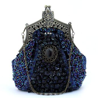 Unique Polyester Beaded Evening Bag For Women - Champagne