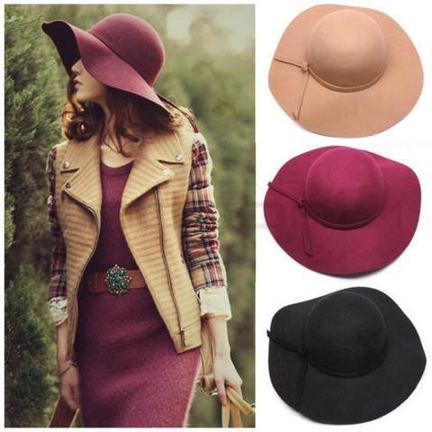 Vintage Women Imitate Wool Wide Brim Felt Bowler Fedora Hat Lady Floppy Cloche - MaLyMoR