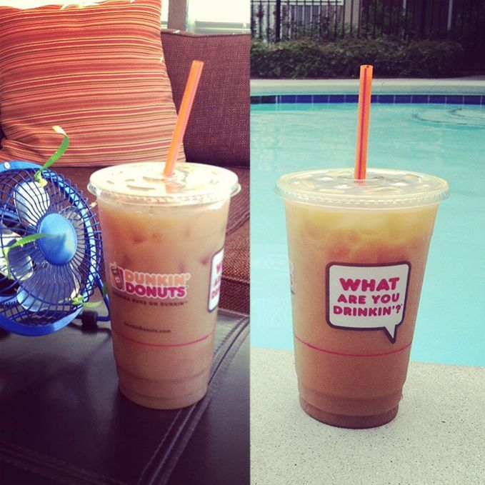 We're enjoying our Dunkin' Iced Coffee in the AC and by the pool this summer!