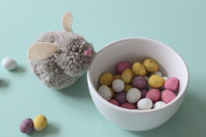 Create this cute little Pom Pom Easter Bunny