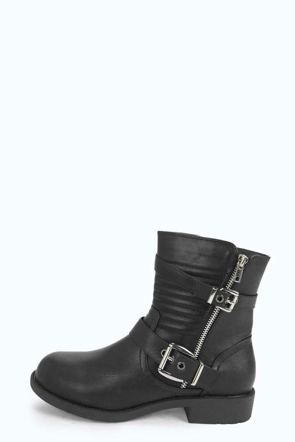 Safia Buckle Strap Biker Boots