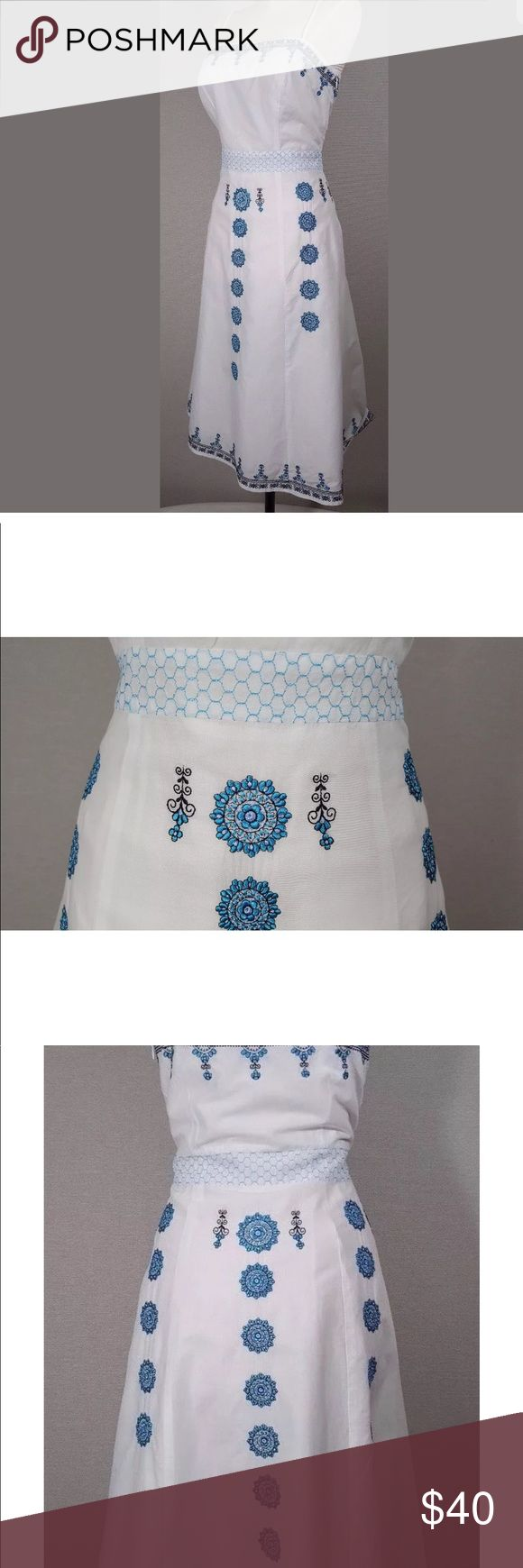 """New Ann Taylor loft embroidered dress ANN TAYLOR LOFT DRESS - FEMININE - ALL OVER EMBROIDERY - FITTED DARTING  BLUE - WHITE EMBROIDERED MANDALA DESIGN    SPAGHETTI STRAPS  DETAILED OVERLAY FITTED WAIST - HONEYCOMB DETAIL AT WAIST   SIDE ZIP WITH HOOK CLOSURE  LINED - TACKED AT HEMS   MATERIAL : DRESS 100% COTTON - LINING 100% ACETATE - EMBROIDERY 100% POLYESTER    ZIPPER LENGTH FROM TOP TO BOTTOM : 13""""  LENGTH FROM TOP OF BACK NECKLINE STRAIGHT DOWN TO BOTTOM EDGE OF HEM: 31 Ann Taylor…"""