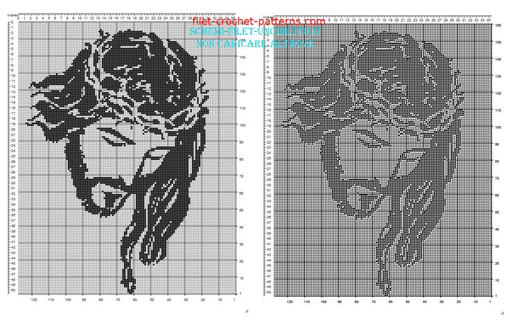 Jesus face free filet crochet pattern in religious category 160 squares