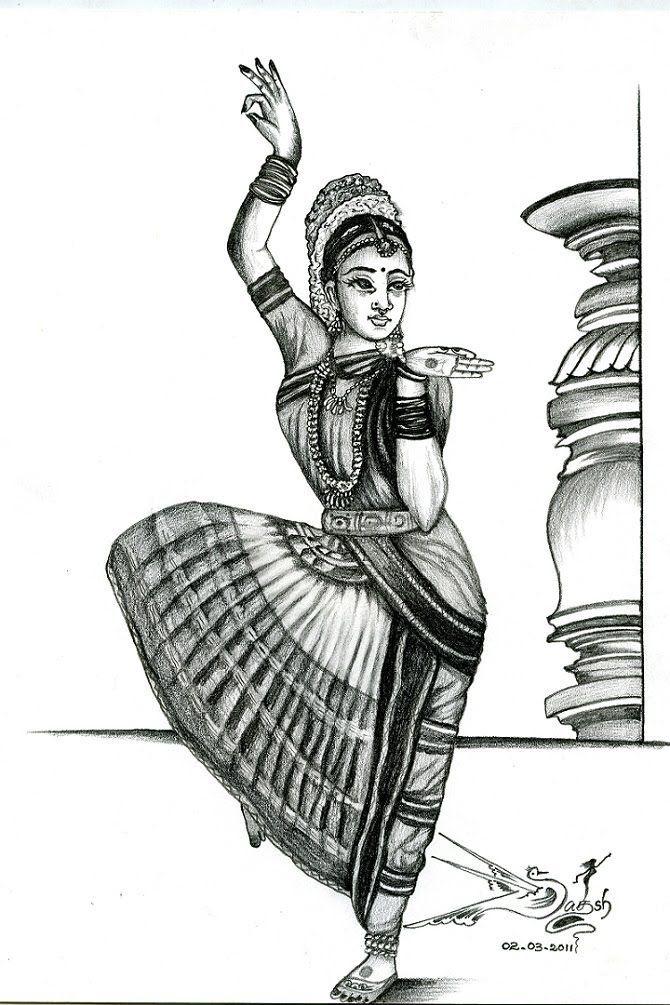 Image Result For Drawings On Classical Dance Bharatanatyam Pencil Drawings Dancing Drawings Indian Art Paintings
