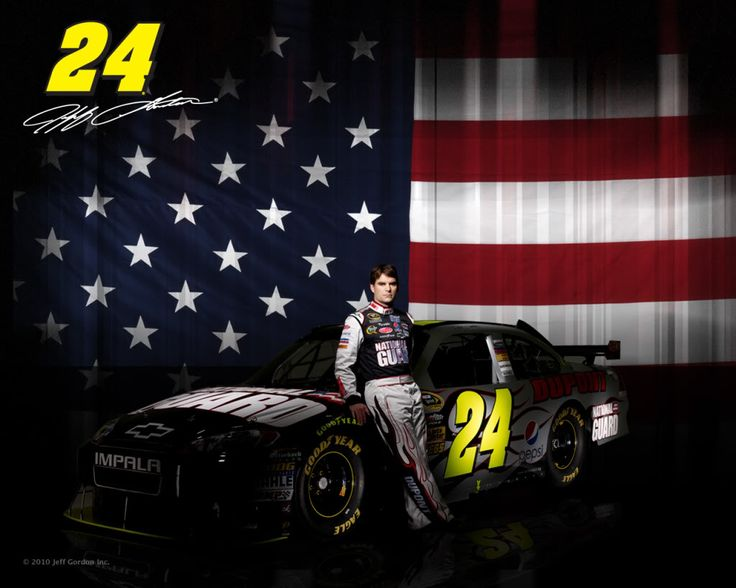 Great Photograph of Jeff Gordon and his National Guard Car (2010 -- Copyright Jeff Gordon Inc.)