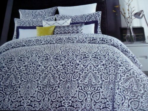 Max Studio Verdi Navy Blue White Medallion 3pc Full Queen