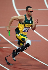 Oscar Pistorius in the Men's 4 x 400m Relay Final (Getty Images)... Gotta love this guy!