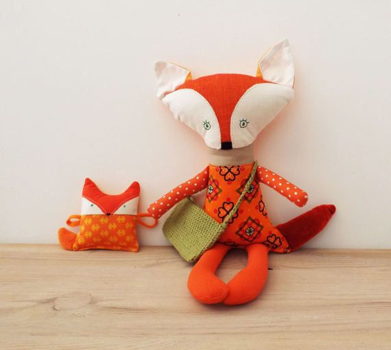 Fox Toy with Fox Pup Doll Fox to play Woodland Soft Toy