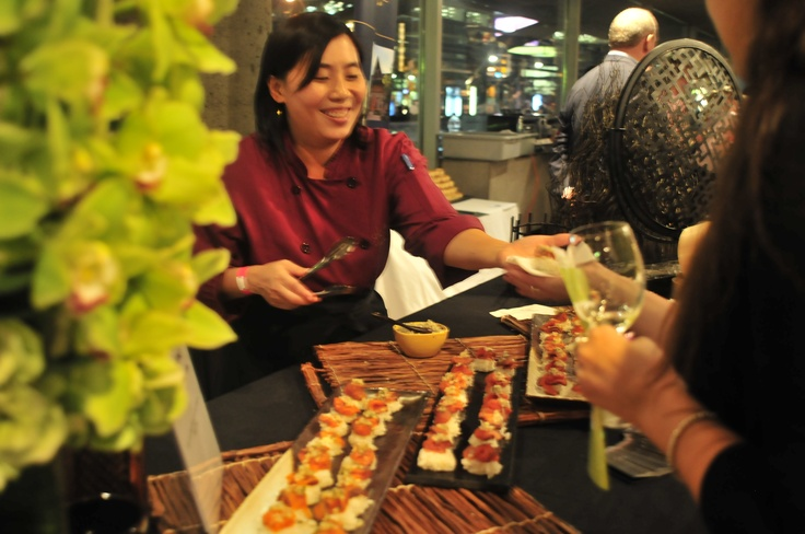Spice Route Asian Bistro & bar. Soy Cured Wild Salmon on Sushi Rice and Asian Pear.